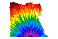 Egypt - map is designed rainbow abstract colorful pattern, Arab Republic of Egypt map made of color explosion,