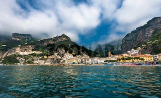 Panoramic view of Amalfi, small town on Amalfi Coast in Campania, Italy