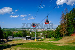 Mariborsko Pohorje, popular hiking destination in summer and skiing in winter, cable cars connection the city of Maribor with top of Pohorje mountain