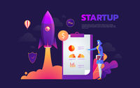 Startup launching process isometric infographic technology online. Business concept vector. Rocket space ship taking off with micro creative people.