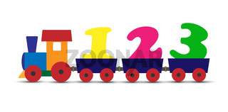 Colorful childrens train transports numbers flat design