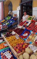 Fruit and vegetable display in Noli - Liguria - Italy