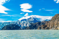 Scenic landscape of Grey Glacier and Grey Lake in sunny day at Torres del Paine National Park