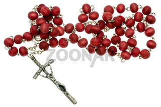 Religious rosary isolated on white