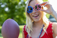 Gorgeous Patriotic Blonde Model Enjoying The 4th Of July Festivities