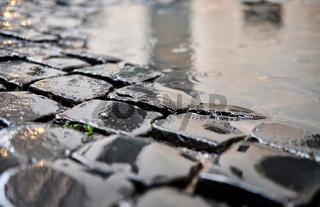 Cobblestone brick paved street in Rome