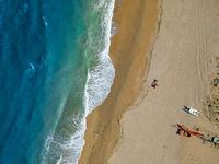flight over a beach near Ancony Italy