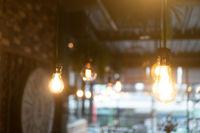 Burning retro light bulbs in restaurant or coffee shop