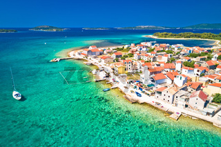 Colorful archipelago of Krapanj island aerial panoramic view