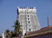 White color ornate Hindu temple in the Kanyakumari, Tamil Nadu, India