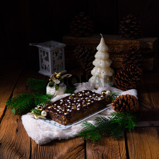 Christmas poppy seed cake with chocolate  nuts and raisins