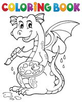 Coloring book painting dragon theme 1