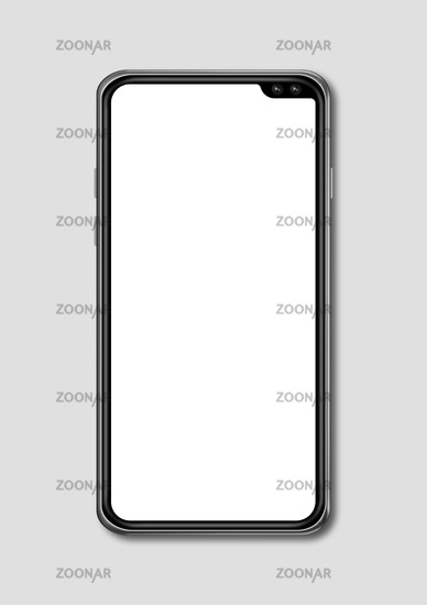 All-screen blank smartphone mockup isolated on grey. 3D render