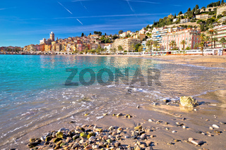 Colorful Cote d Azur town of Menton beach and architecture view