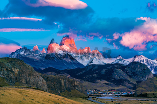 View of Mount Fitz Roy in the morning sunlight at El Chalten Village