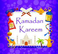 Ramadan kareem greeting card with arabic design elements camel, quran, lanterns, rosary, food, mosque. Vector illustration.