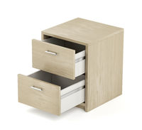 Wooden nightstand on white background