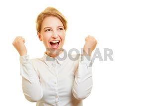 Frau als Sieger und Gewinner jubelt und schreit