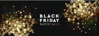 Black Friday Super Sale. Banner, poster, logo golden color on black background. Design with golden confetti and sparkle, vector illustration.