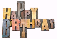 Happy Birthday greetings in wood type