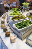 Salad bar station in buffet line