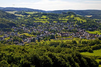 view from Pelm in the landscape of the Vulkaneifel, Rhineland-Palatinate, Germany, Europe