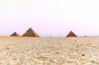 Giza desert and the Pyramids on the background, Egypt