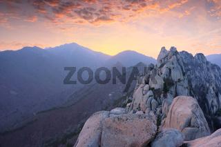 View from Ulsanbawi rock peak on sunset. Seoraksan National Park, South Corea