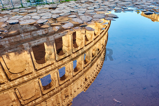 Colosseum reflection in Rome, Italy