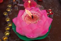 Lotus candle in a buddhist temple