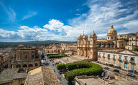 Panoramic view of Noto old town and Noto Cathedral, Sicily, Italy.