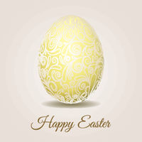 Easter card with pale yellow pastel Easter egg