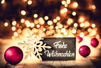 Plate, Calligraphy Frohe Weihnachten Means Merry Christmas, Purple Balls