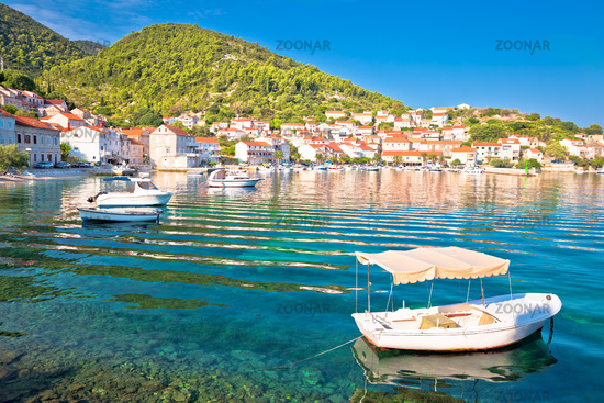 Idyllic coastal village of Racisce on Korcula island waterfront view