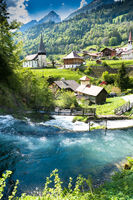 the idyllic Swiss village of Jaun and the Jaunfall waterfall in the Alps of canton Fribourg