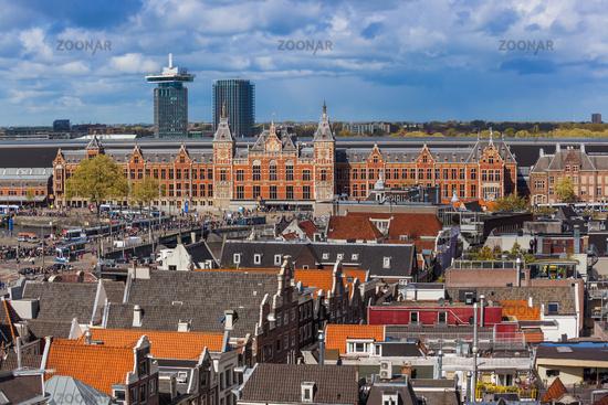 AMSTERDAM NETHERLANDS - APRIL 25, 2017: Central district on April 25, 2017 in Amsterdam Netherlands