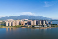 jiujiang cityscape with mountains-water