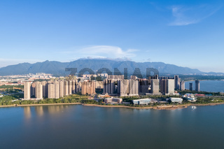 jiujiang cityscape with mountains-water