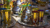 Moroccan tea set at a medieval fair in Spain