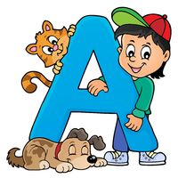 Boy and pets with letter A