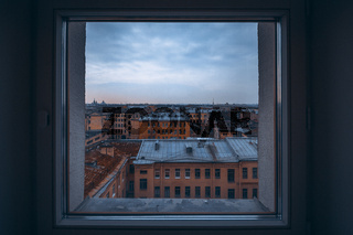 Cold City Landscape Through Square Window Indoors Residential District Apartments