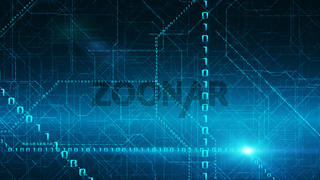 Binary Data Stream Background. Transfer Of Information, Cloud Computing And Big Data Concept