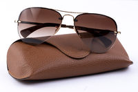 Brown aviator sunglasses and case on white