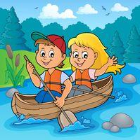 Kids in boat theme image 2