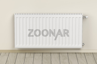 White heating radiator in the room