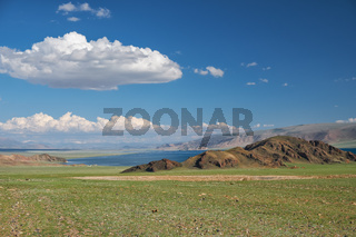 Mongolian natural landscapes near lake Tolbo-Nuur surrounded by mountains and rocks  in north Mongolia