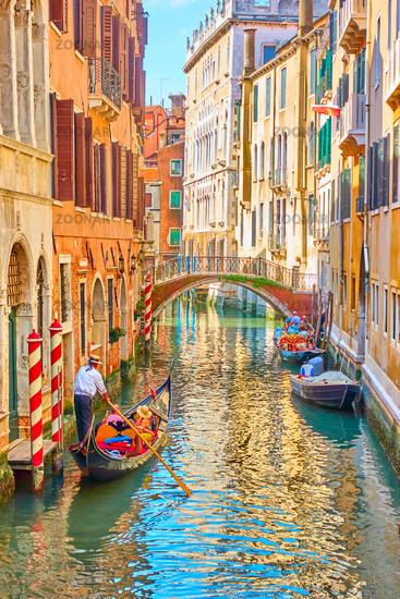 Venetian canal with gondola