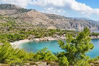 The beach Tigani in Chios, Greece
