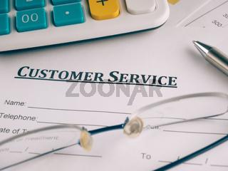 customer service form on the desk.