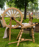 distaff wheel wooden device - image background homemade cloth production clothes
